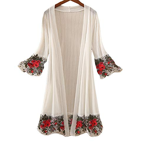 FORUU Cardigan For Womens, 2019 Sexy Ladies Fashion Half Sleeve Embroidery Printed Floral Leisure Blouses Kimono Newest Arrival Summer Beach Party Holiday Best Gift For Girlfriend Wife Lover Birthday