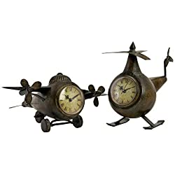 Imax 12708-2 Lindbergh Aviation Clocks, Bronze, Set of 2
