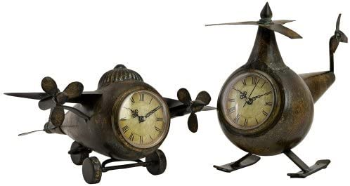 Imax 12708-2 Lindbergh Aviation Clocks, Bronze, Set of 2