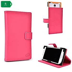 PINK | SMARTPHONE HOLDER WITH FOLDING COVER STAND AND CAMERA ACCESS UNIVERSAL FIT FOR RadioShack« ZTE Engage LT No-Contract Phone-