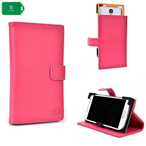 PINK   PU LEATHER UNIVERSAL PHONE HOLDER WITH STAND  FITS Straight Talk ZTE Unico Z930 LTE Prepaid Cell Phone