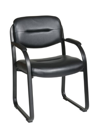 Office Star Faux Leather Visitors Chair with Sled Base and Padded Arms, Black (Faux Leather Reception)