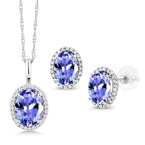 Gem Stone King 3.19 Ct Oval Blue Tanzanite 10K White Gold Pendant Earrings Set
