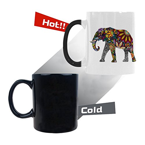 InterestPrint 11oz The Silhouette of Cheerful Flower Elephant Heat Sensitive Mug Color Changing Mug Morphing Coffee Travel Mug Tea Cup Funny, 11oz Ceramic Mug (Elephant Tea Mug)