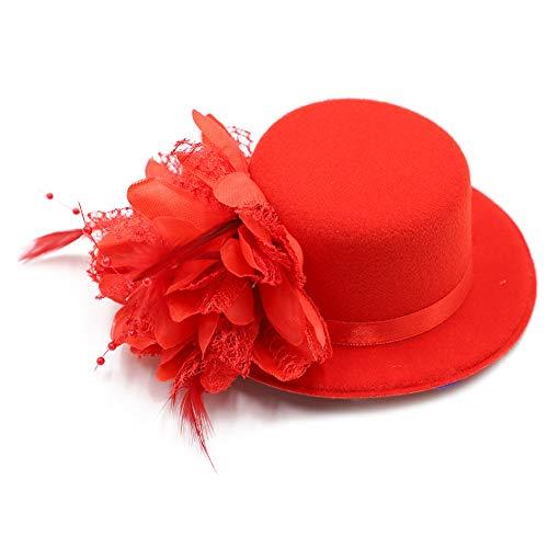 (BAOBAO Women Flower Mini Top Hat Fascinator Wedding Party Bridal Hair Clip Hairpin)