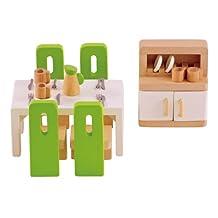Hape Wooden Doll House Furniture Dining Room Set