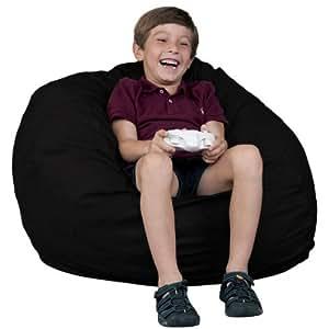 Kids Bean Bag Chair Fugu Brand Black - Small 2'