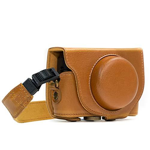 MegaGear MG598 Sony Cyber-shot DSC-HX99, DSC-HX95, DSC-HX90V, DSC-HX80 Ever Ready Leather Camera Case with Strap - Light Brown