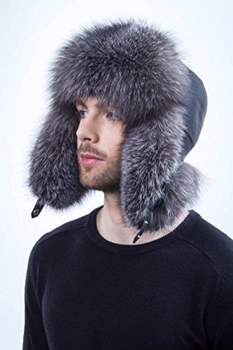 - Silver Blue Frost Fox Fur Hat Leather for Men's Saga Furs