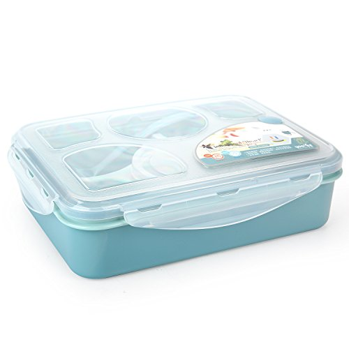 lunch bento box iwotou microwave and dishwasher safe lunch box with 5 1 sepa. Black Bedroom Furniture Sets. Home Design Ideas
