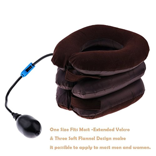 Bargain Crusader Inflatable Cervical Neck Traction Air Inflatable Pillow Neck Head Stretcher Pain Relief Collar (for Adults, Brown)