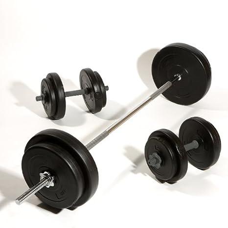 Negro peso 50 kg Vinilo juego de mancuernas y barra de haltera 5 Barra de 152,40 cm y pesas y vinilo pesos por Kore Fitness: Amazon.es: Deportes y aire ...