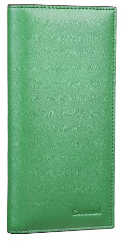 Casmonal Genuine Leather Checkbook Cover For Men & Women Checkbook Holder Wallet RFID Blocking(green)