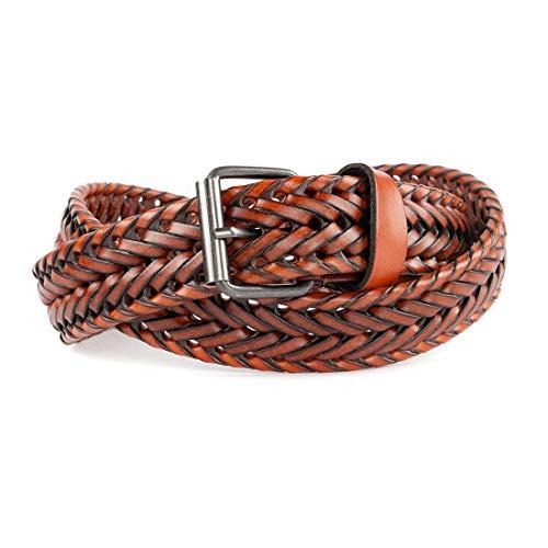 Handmade Woven Belt - ECHAIN Men Braided Woven Genuine Leather Belt Brown (Waist:28-30, brown 5)