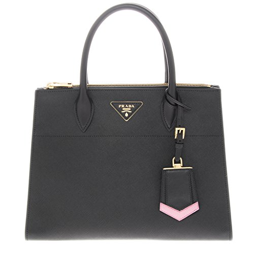 Prada-Saffiano-Greca-Medium-Double-Zip-Galleria-Handbag-Black