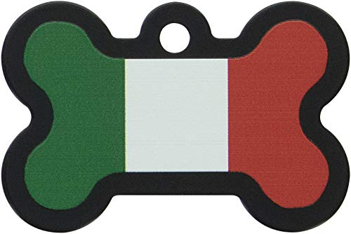 (Quick-Tag 7324-886 Large Painted Blue Bone Pet Tag Italian Flag)