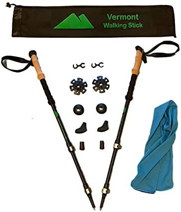 Vermont Walking Hiking Sticks Treking Poles Pair for Hiking Aluminum Quick Locks, Anti-Slip Cork Grips, Ideal for Kids, Women and Men – Free Cooling Towel