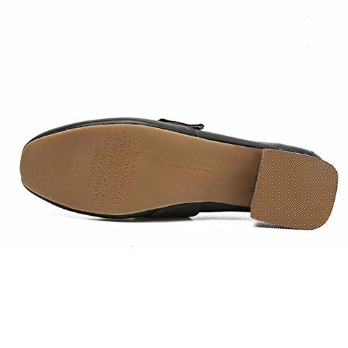 T-juli Kvinna Fyrkantig Tå Avslappnad Slip På Tillfälliga Mockasiner Syntetiska Flats Komfort Loafer Skor Svarta
