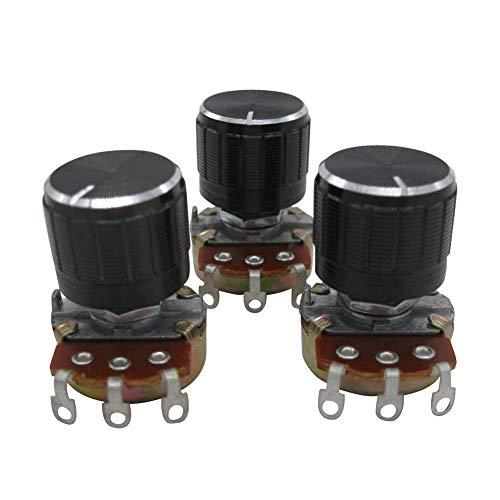 TWTADE / 3pcs 50K ohm Potentiometer Single Turn Rotary Linear Variable Potentiometer + 3pcs black Aluminum alloy knob