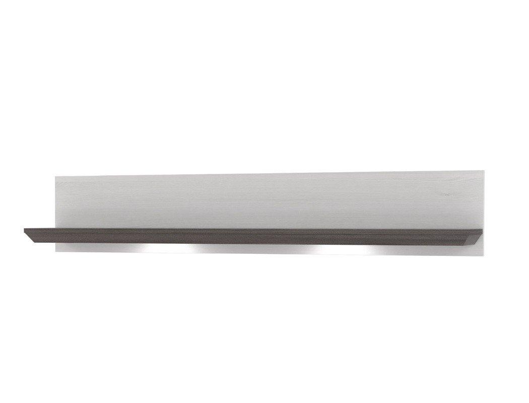 Expendio Wandregal Gaston 22 Weiss Grau 145x26 cm Schneeeiche LED-Beleuchtung Wandboard Regal Landhausstil Landhausmöbel