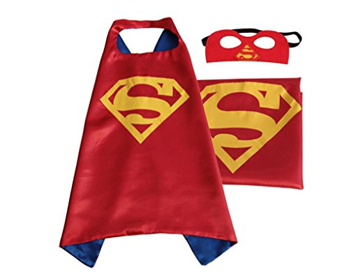 Rush Dance Deluxe Comics Satin Unisex Super Hero CAPE & Matching MASK (Red & Blue & Yellow (Red (Best Ironman Costume)