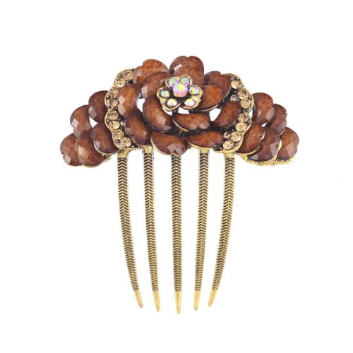 Antique Brass Rhinestone French Twist Comb Flower Topaz