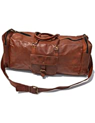 25 Mens Genuine Leather Vintage Duffle Gym Large Travel Weekend Luggage Bag