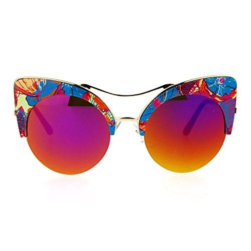 SA106 Womens Floral Print Half Rim mirrored Lens Cat Eye Sunglasses Blue Beige - Eye Sunglasses Floral Cat