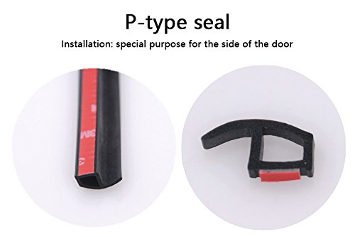 P-shape Waterproof Sealing Strip - 4M Universal P-Shape Rubber Seal Weather Strip Hollow Car Door Window Edge Moulding Trim Weatherstrip - Black Qiyun