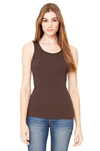 Zara Yoga Studio |LA| Women's 2x1 Rib Tank (Large/Chocolate)