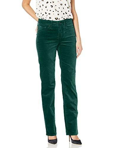 NYDJ Women's Marilyn Straight Leg Velvet Jeans, Mountain Pine, 10