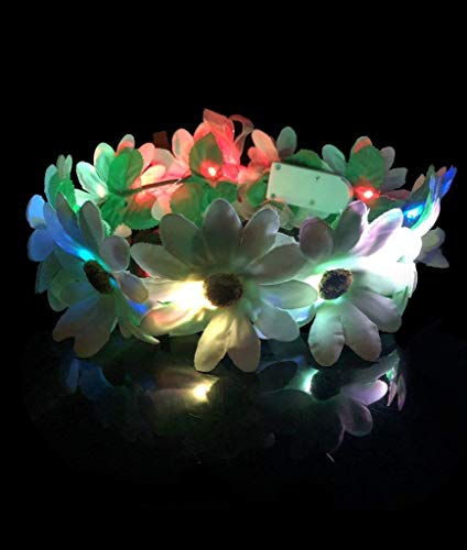Fun Central BC876, 1 Pc, Multicolor, LED Light Up Flower Halo, Flower Crown, Flower Halo Headband, Fairy Halo Crown, Flower Wreath Crown, LED Headband, Glow Headband, Fairy Themed Party, -