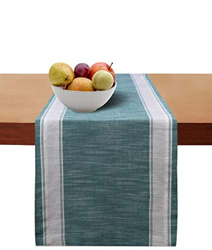 Cotton Clinic Table Runner Farmhouse 72 Inch Helena Broad Stripe, 14x72 Wedding Table Runner, Rustic Bridal Shower Decor Dining Table Runner with Mitered Corners & Generous Hem, Teal -