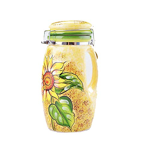 MonLiya 1PC Porcelain Canister Ceramic Container Food Storage Jar Sunflower Printed Coffee Can Candy Jar Kitchen Canister Tea Canister Snack Sealed Tank Sugar Container Home Decoration 1050ML ()