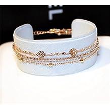 P.phoebus 18K Rose Gold Flower Vintage White Swarovski Crystal Studs Earrings Rhinestones Dangle Charms Hoops For Women Girls (layer bracelet)