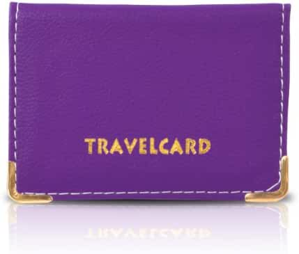 SHUKAN FASHIONS - NEW LEATHER OYSTER PURPLE TRAVEL CARD BUS PASS HOLDER WALLET RAIL CARD COVER CASE - P160