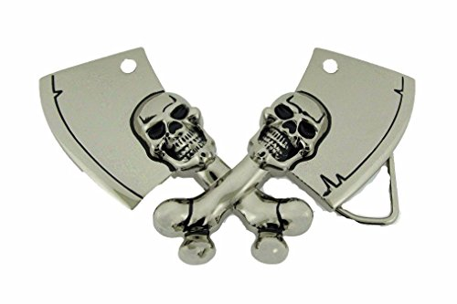 Skull Meat Cleavers Machetes Rock Rebel Men New Belt Buckle Tattoo Celtic Metal
