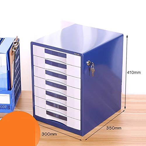 FPigSHS File cabinets Desktop Storage Box Office Furniture Archive Cabinet 7 Drawers, with Lock High Capacity Can Store A4 Files (Color : Blue)