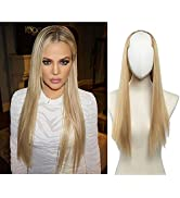 SARLA Clip in U Part Hair Extensions Dirty Blonde 24 Inch Long Straight Full Head Hair Pieces for...