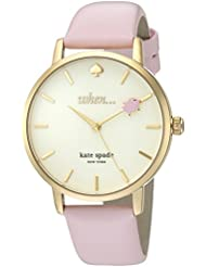 kate spade new york Womens Metro Quartz Stainless Steel and Leather Casual Watch, Color:Pink (Model: KSW1230)