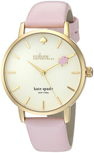Kate Spade Women's 'Metro' Quartz Stainless Steel and Leather Casual Watch, Color:Pink (Model: KSW1230)