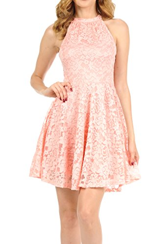 Auliné Collection Womens Halter Sleeveless Floral Lace Skater Dress Rose Small Floral Collection Rose