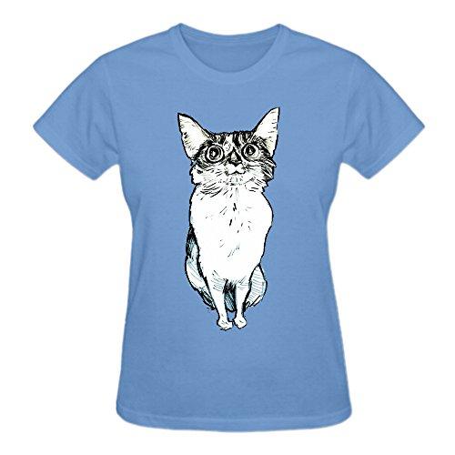 Bina Cat Women's O-Neck Cotton Tee-Shirt Blue (Adult Cheer Bear Dress)