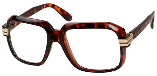 Basik Eyewear - Big Hipster Retro 80's MC Rapper Clear Lens Hip Hop Eye Glasses (Tortoise, 5.5)]()