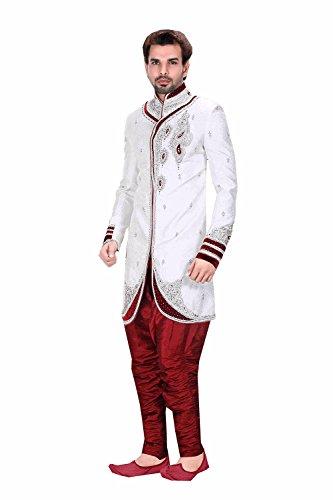 Wedding Partywear Designer Readymade Butta Off White Men`S Wear 50669 by Da Facioun