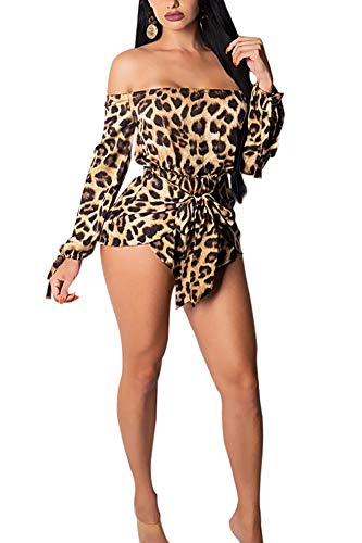 Deloreva Women Off Shoulder Romper - Long Sleeve Strapless Leopard Short Jumpsuit Pants Set Playsuit XL