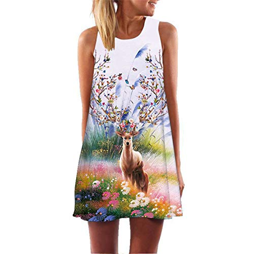 KESEE Vintage Boho Maxi Beach Floral Dress Casual Loose T-Shirt Dress