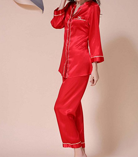 Alto Cuello Redondo Traje Pijama Sra Seda De Manga Larga De Verano Red