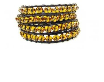 Jewel Sensation Glass Beaded Leather Wrap Bracelet Quality Jewelry for Girls & Women (Italian Charms I Initials compare prices)