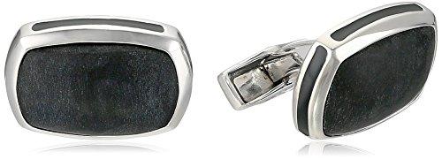 Tateossian Silver Matt Onyx Black Cushion Rectangular Black Opaque Enamel Signature Pillow Cuff Link